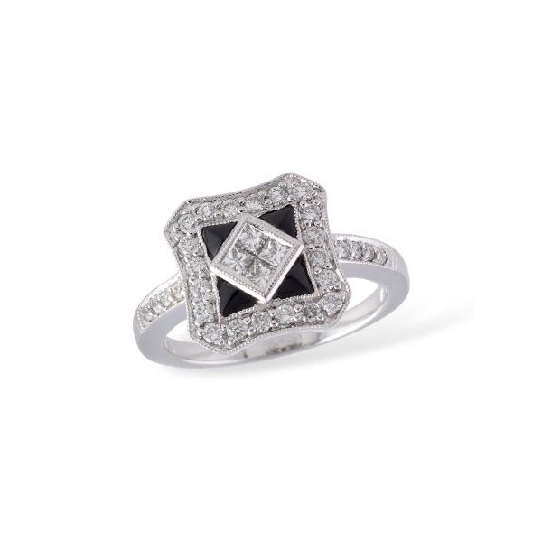 Allison Kaufman .60ctw Diamond and Onyx Ring - White Gold Lumina Gem Wilmington, NC