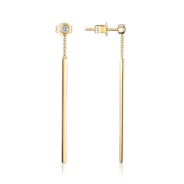 Luvente Diamond and Yellow Gold Dangle Bar Earrings Lumina Gem Wilmington, NC
