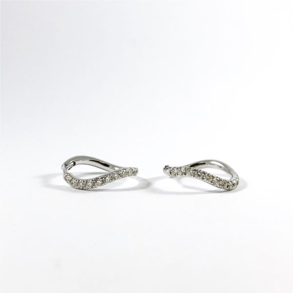 Curved .40ctw Diamond and White Gold Huggies Lumina Gem Wilmington, NC