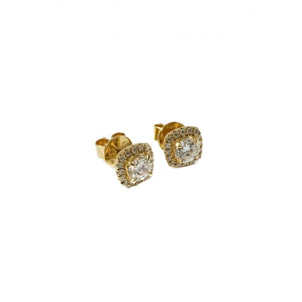 Diamond Earrings - .90ctw Round Diamonds in a .23ctw Cushion Halo and Yellow Gold Setting Image 2 Lumina Gem Wilmington, NC