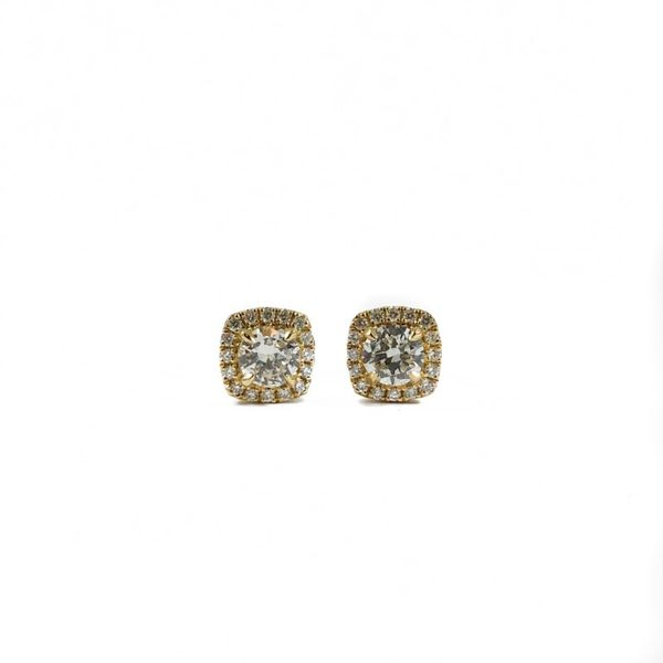 Diamond Earrings - .90ctw Round Diamonds in a .23ctw Cushion Halo and Yellow Gold Setting Lumina Gem Wilmington, NC