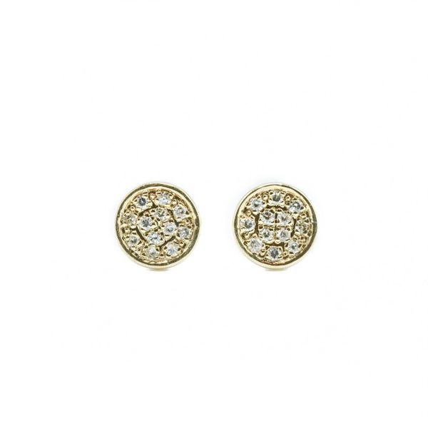 Luvente .05ctw Diamond Pave Disk Earrings - Yellow Gold Lumina Gem Wilmington, NC