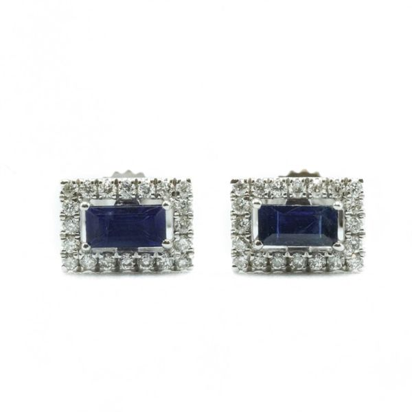 .13ctw Sapphire and .20ctw Diamond Earrings - White Gold Lumina Gem Wilmington, NC