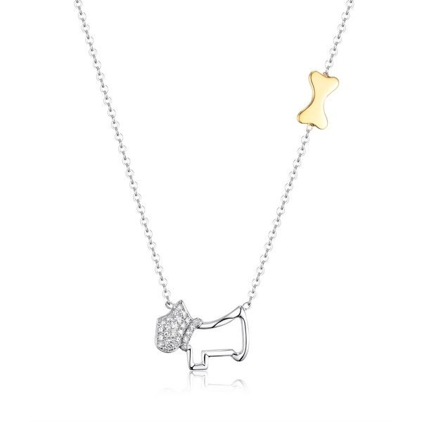 Luvente Diamond Dog Necklace with Bone Accent - 18