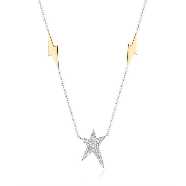 Luvente Diamond Star Necklace with Lightening Bolt Accents - 18