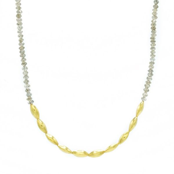 Champagne Diamond and Yellow Gold Necklace made by Local Artist Katharyn Zava - 17