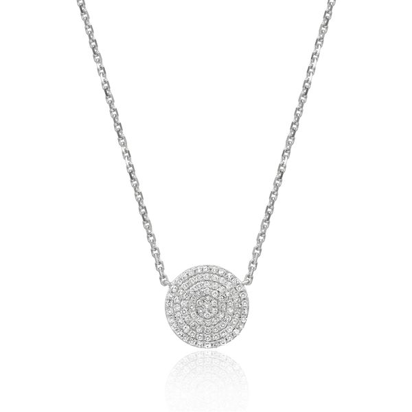Luvete Diamond Disk Pendant - 14k White Gold Lumina Gem Wilmington, NC
