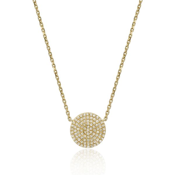 Luvente .28ctw Pave Disk Necklace - Yellow Gold - 18