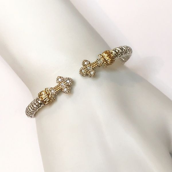 Alwand Vahan 4mm .10ctw Diamond Cross Cuff Image 2 Lumina Gem Wilmington, NC