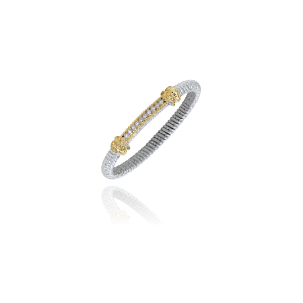 Alwand Vahan 6mm .15ctw Diamond Bangle in Sterling Silver and Yellow Gold Lumina Gem Wilmington, NC