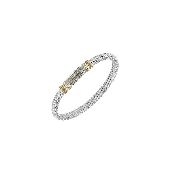Alwand Vahan 4mm .10ctw Diamond Bangle in Sterling Silver and Yellow Gold Lumina Gem Wilmington, NC