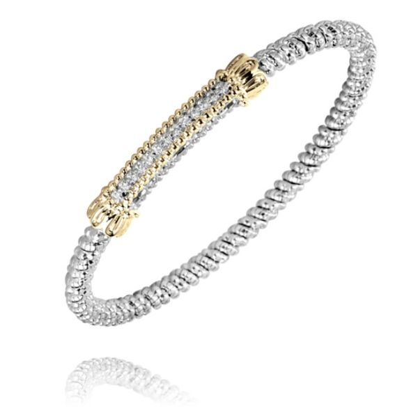 Alwand Vahan 3mm .11ctw Diamond Bangle in Sterling Silver and Yellow Gold Accents Lumina Gem Wilmington, NC