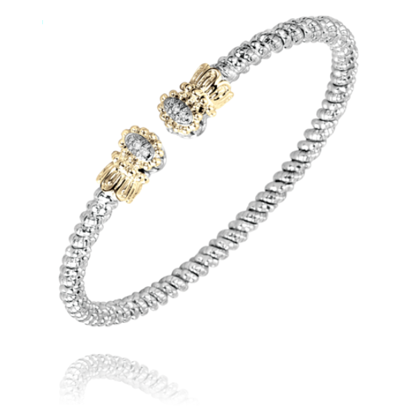 Alwand Vahan 3mm .06ctw Diamond Cuff in Sterling Silver and Yellow Gold Lumina Gem Wilmington, NC