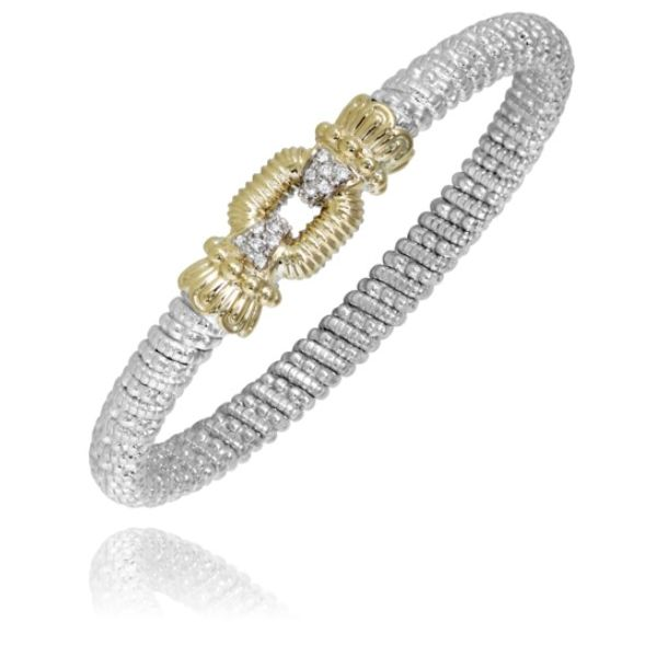 Alwand Vahan 6mm .09ctw Diamond Bangle in Sterling Silver and Yellow Gold Lumina Gem Wilmington, NC