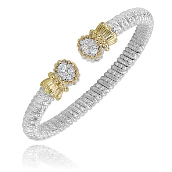 Alwand Vahan 6mm .46ctw Diamond Cuff in Sterling Silver and Yellow Gold Lumina Gem Wilmington, NC