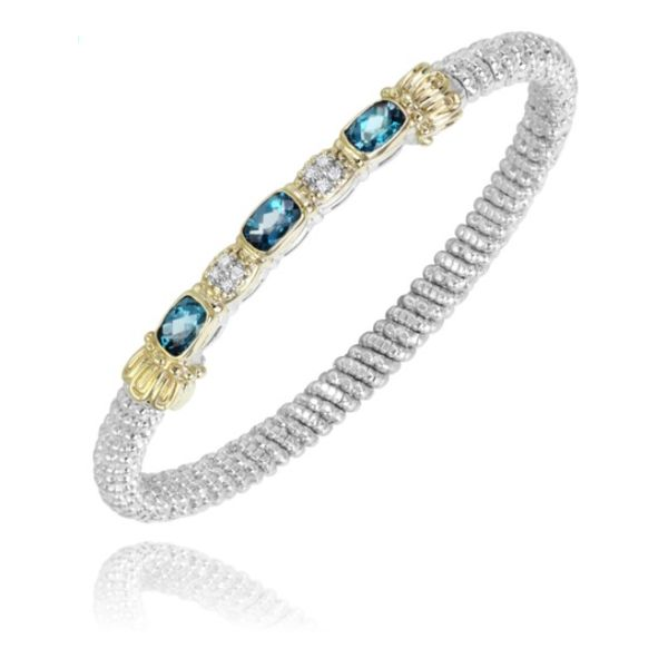 Alwand Vahan 4mm .06ctw Diamond and Blue Topaz Bangle in Sterling Silver and Yellow Gold Lumina Gem Wilmington, NC