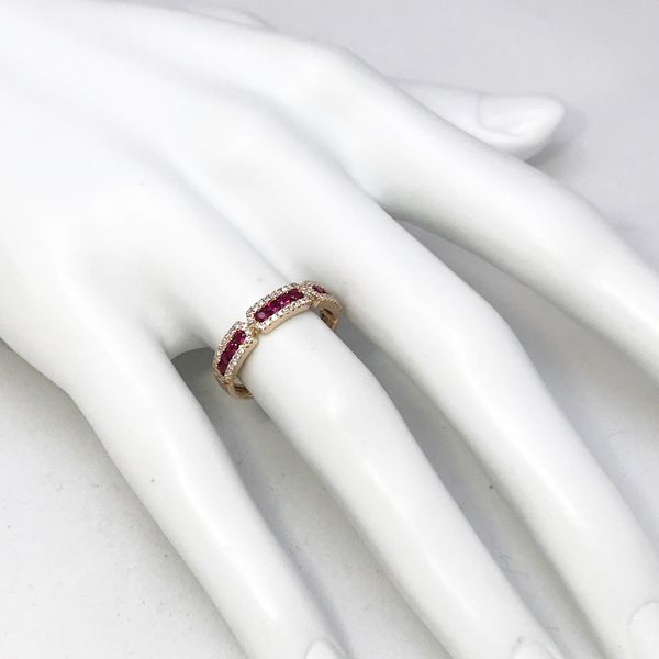 Luvente Diamond and Ruby Rose Gold Ring Image 2  ,