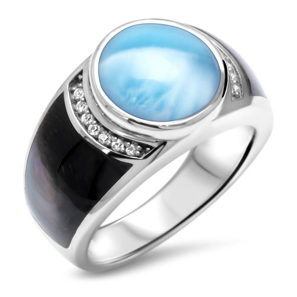 Marahlago Larimar Laguna Ring with Black Mother of Pearl and White Sapphire Lumina Gem Wilmington, NC