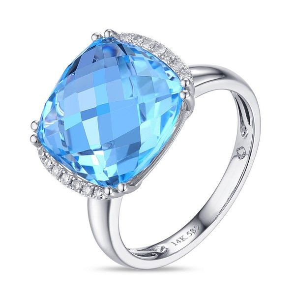 Luvente 9.90ct Blue Topaz and Diamond Ring Lumina Gem Wilmington, NC
