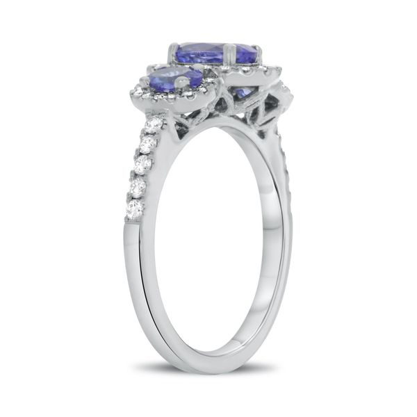 Roman and Jules Three Stone Tanzanite and Diamond Ring Image 2 Lumina Gem Wilmington, NC