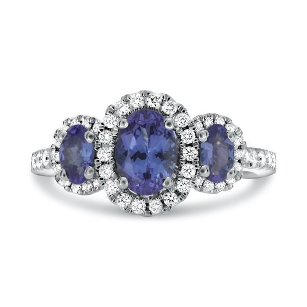 Roman and Jules Three Stone Tanzanite and Diamond Ring Lumina Gem Wilmington, NC