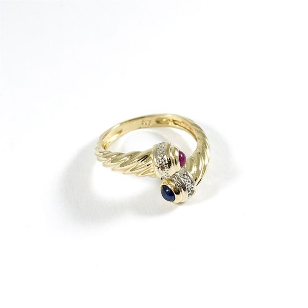 Ruby and Sapphire Cabochon Crossover Ring Image 2 Lumina Gem Wilmington, NC