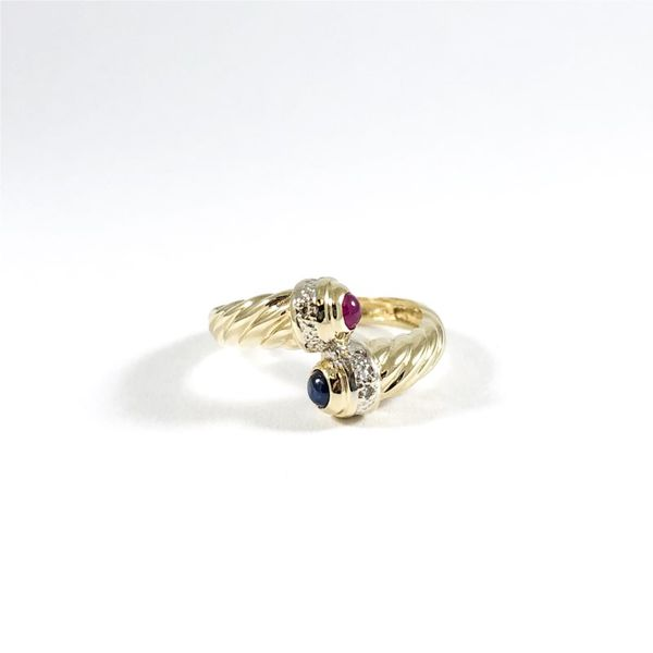 Ruby and Sapphire Cabochon Crossover Ring Lumina Gem Wilmington, NC