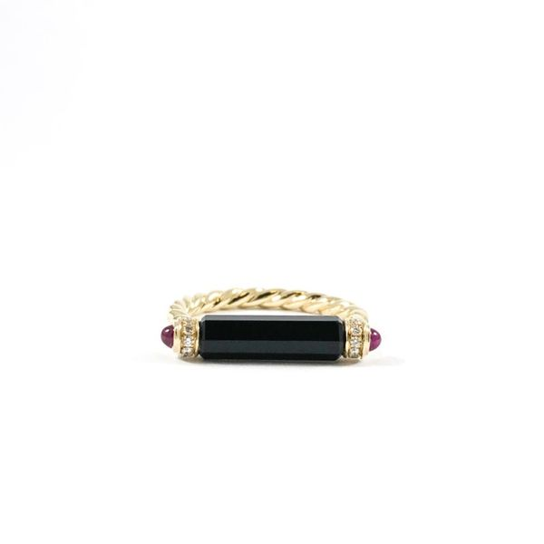 David Yurman Onyx Barrel Ring with Tourmaline and Diamond Accents Lumina Gem Wilmington, NC
