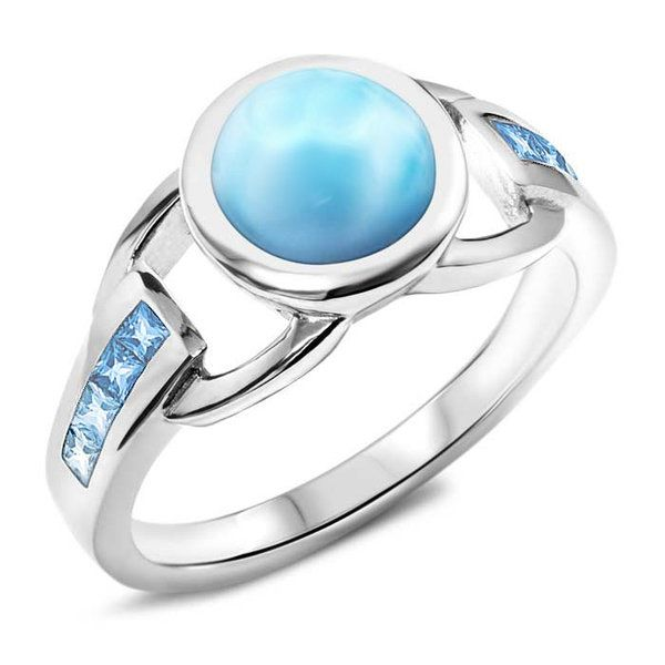 Marahlago Larimar and Blue Topaz Ring Lumina Gem Wilmington, NC
