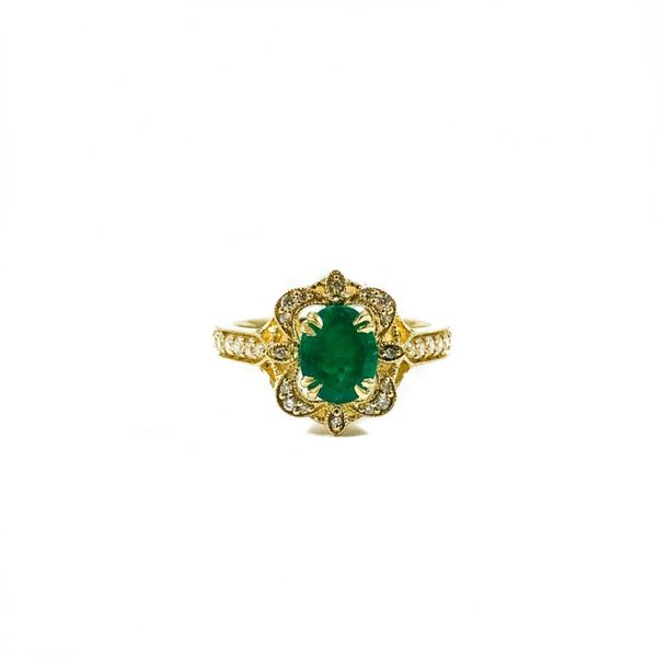 S. Kashi and Sons Emerald and Diamond Ring - H Color SI1 Clarity - Yellow Gold Lumina Gem Wilmington, NC