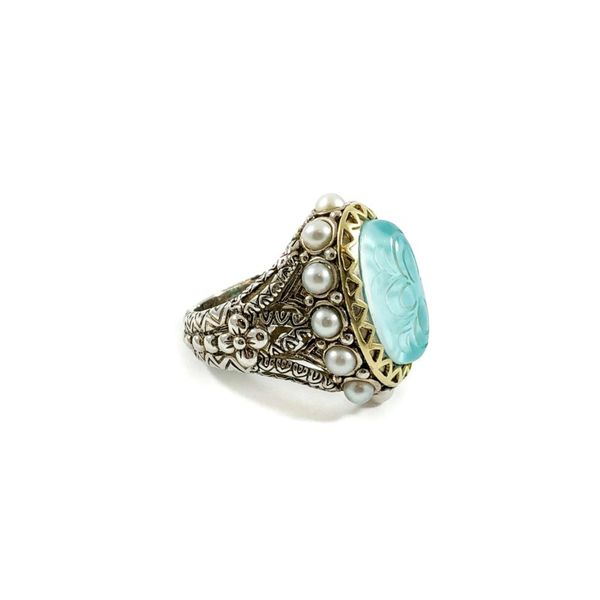 Bixby Turquoise Doublet Ring with Pearl Accents Image 2 Lumina Gem Wilmington, NC
