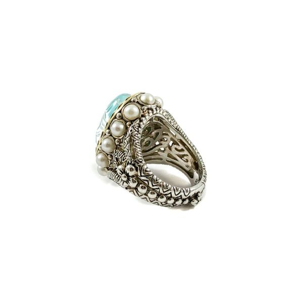 Bixby Turquoise Doublet Ring with Pearl Accents Image 3 Lumina Gem Wilmington, NC