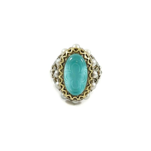 Bixby Turquoise Doublet Ring with Pearl Accents Lumina Gem Wilmington, NC