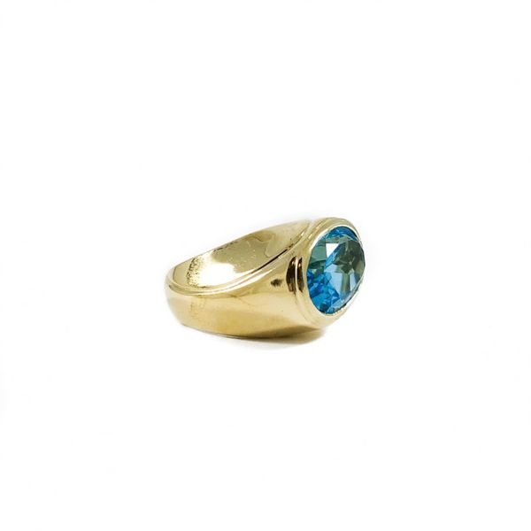 Blue Topaz and Yellow Gold Ring Image 2 Lumina Gem Wilmington, NC