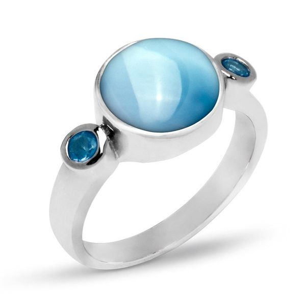 Marahlago Splash Larimar and Blue Spinel Ring Lumina Gem Wilmington, NC