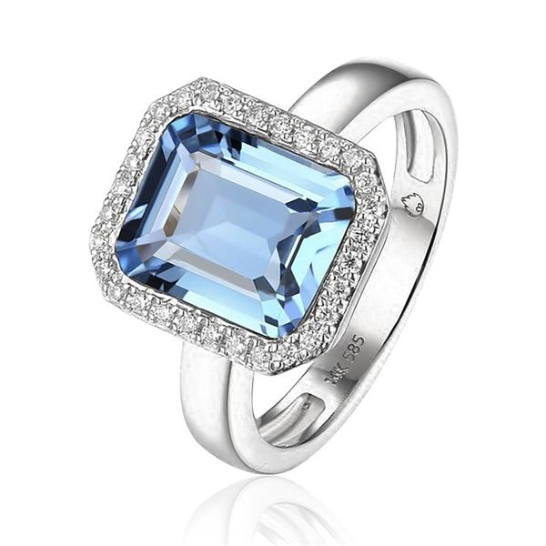 Luvente Blue Topaz and .13ctw Diamond Ring - White Gold Lumina Gem Wilmington, NC