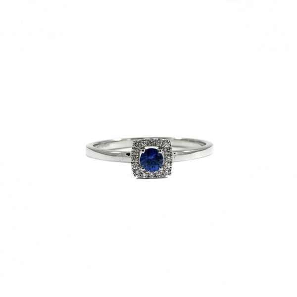 .13ctw Sapphire and Diamond Ring - White Gold Lumina Gem Wilmington, NC