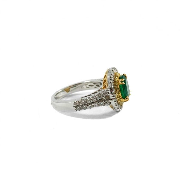 1.60ct Oval Emerald, .19ctw Yellow Diamond, and .85ctw Diamond Ring - 18k Two Tone Gold Image 2 Lumina Gem Wilmington, NC