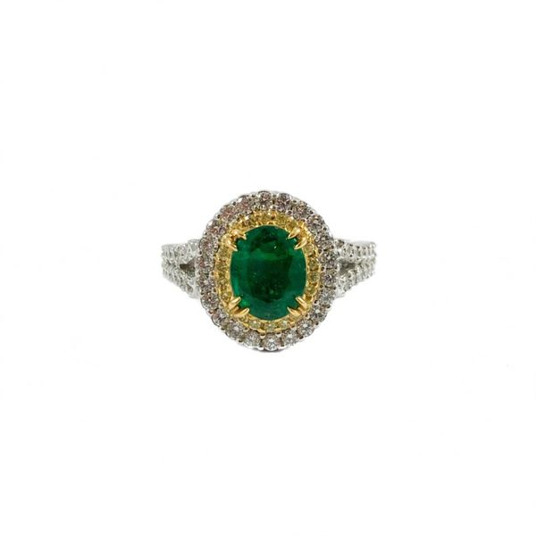 1.60ct Oval Emerald, .19ctw Yellow Diamond, and .85ctw Diamond Ring - 18k Two Tone Gold Lumina Gem Wilmington, NC