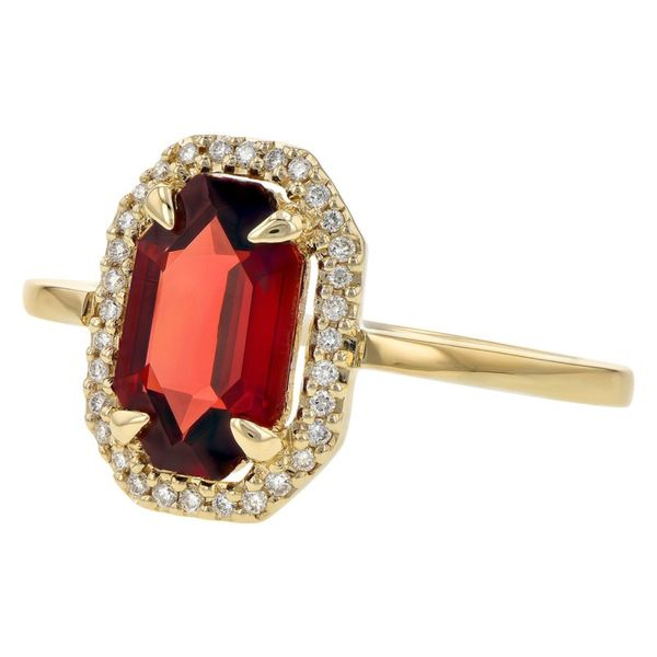 Allison Kaufman Garnet and .09ctw Diamond Ring - Yellow Gold Image 2 Lumina Gem Wilmington, NC