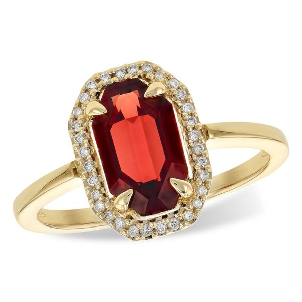 Allison Kaufman Garnet and .09ctw Diamond Ring - Yellow Gold Lumina Gem Wilmington, NC