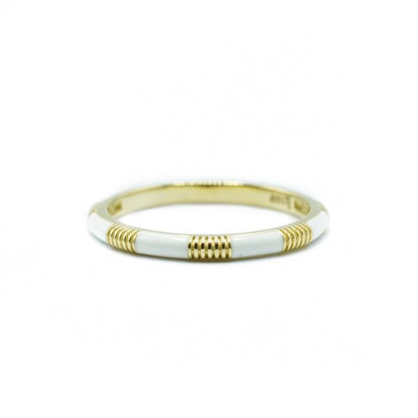 Sloane Street White Enamel and 18k Yellow Gold Band Lumina Gem Wilmington, NC