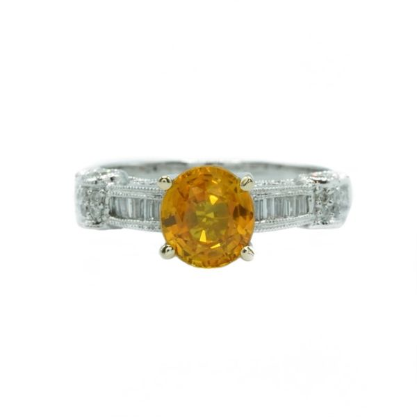 Yellow Sapphire and Diamond Ring - White Gold Lumina Gem Wilmington, NC