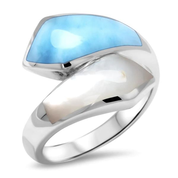 Marahlago Calder ring with Larimar and Mother of Pearl Lumina Gem Wilmington, NC