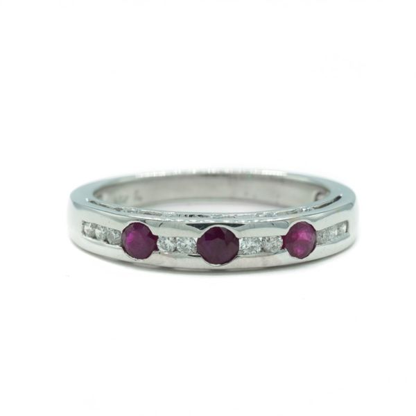 Diamond and Ruby Band in White Gold Lumina Gem Wilmington, NC