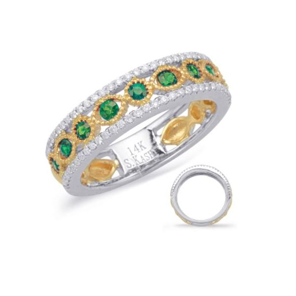S. Kashi and Sons .40ctw Emerald and .23ctw Diamond Band - Two Tone Gold Lumina Gem Wilmington, NC