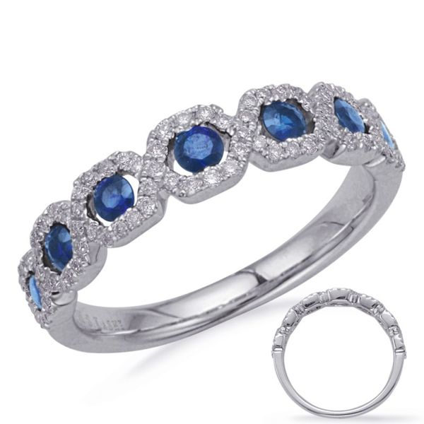 S. Kashi and Sons Sapphire and Diamond Band- 14k White Gold Lumina Gem Wilmington, NC