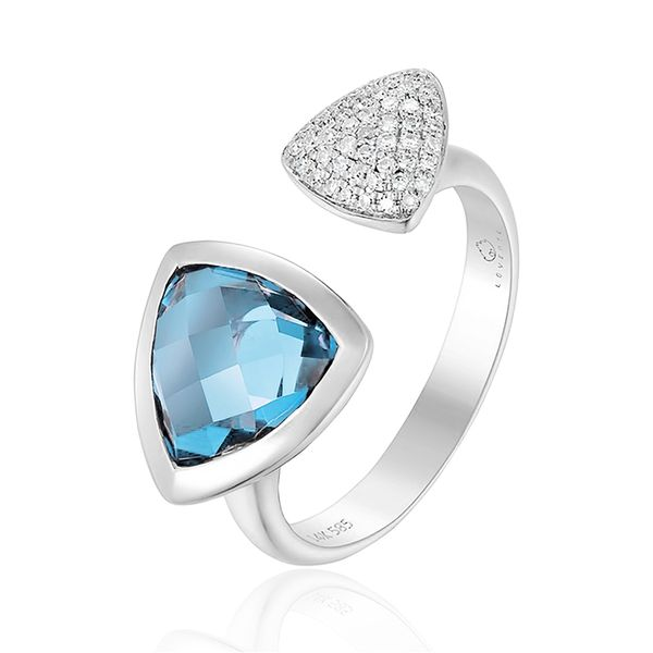 Luvente Blue Topaz and Diamond Ring- 14k White Gold Lumina Gem Wilmington, NC