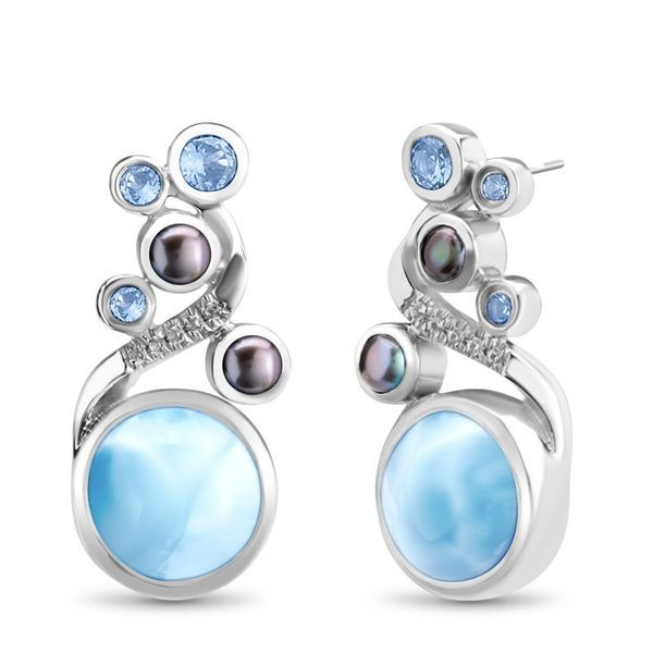 Marahlago Seascape Larimar, Pearl, and Blue Spinel Earrings Lumina Gem Wilmington, NC
