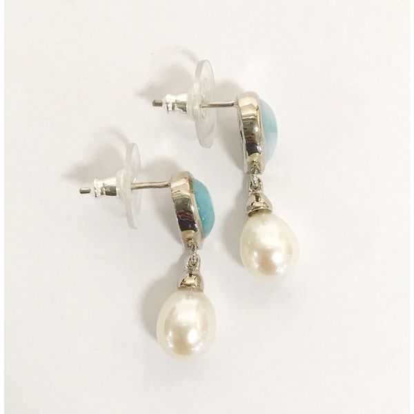 Marahlago Alisa Larimar and Pearl Earrings Image 2 Lumina Gem Wilmington, NC